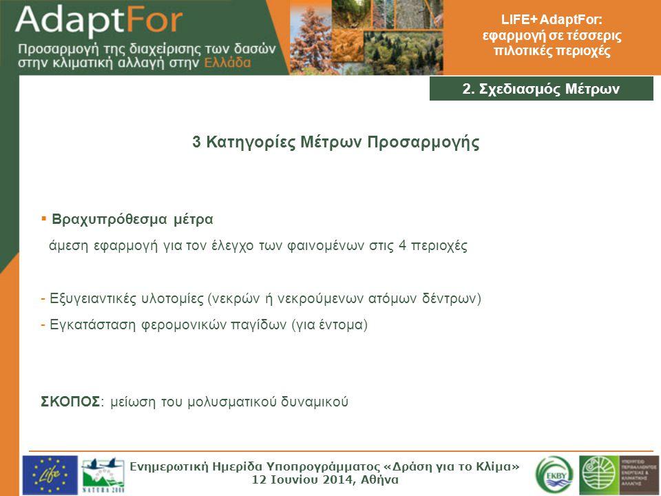 LIFE+ AdaptFor: εφαρμογή σε τέσσερις πιλοτικές περιοχές 2. Σχεδιασμός Μέτρων 3 Κατηγορίες Μέτρων Προσαρμογής  Βραχυπρόθεσμα μέτρα άμεση εφαρμογή για