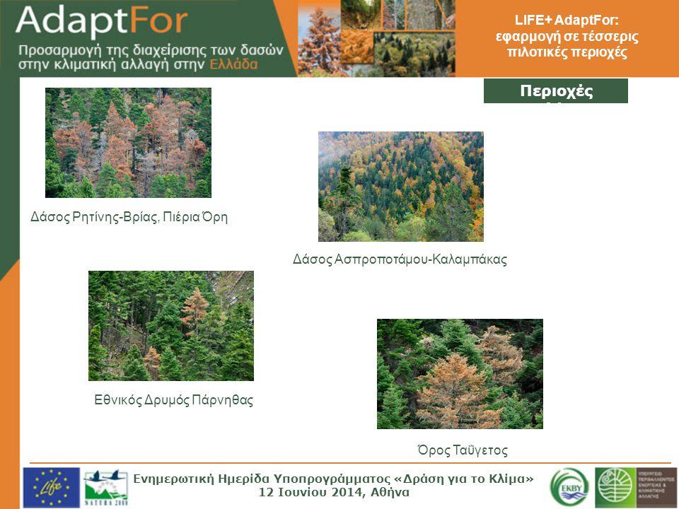 LIFE+ AdaptFor: εφαρμογή σε τέσσερις πιλοτικές περιοχές Περιοχές Μελέτης Δάσος Ρητίνης-Βρίας, Πιέρια Όρη Δάσος Ασπροποτάμου-Καλαμπάκας Εθνικός Δρυμός Πάρνηθας Όρος Ταΰγετος Ενημερωτική Ημερίδα Υποπρογράμματος «Δράση για το Κλίμα» 12 Ιουνίου 2014, Αθήνα