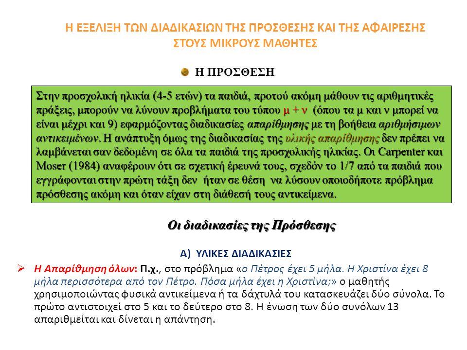 Η ΕΞΕΛΙΞΗ ΤΩΝ ΔΙΑΔΙΚΑΣΙΩΝ ΤΗΣ ΠΡΟΣΘΕΣΗΣ ΚΑΙ ΤΗΣ ΑΦΑΙΡΕΣΗΣ ΣΤΟΥΣ ΜΙΚΡΟΥΣ ΜΑΘΗΤΕΣ Α) ΥΛΙΚΕΣ ΔΙΑΔΙΚΑΣΙΕΣ  Η Απαρίθμηση όλων: Π.χ., στο πρόβλημα «ο Πέτρος έχει 5 μήλα.