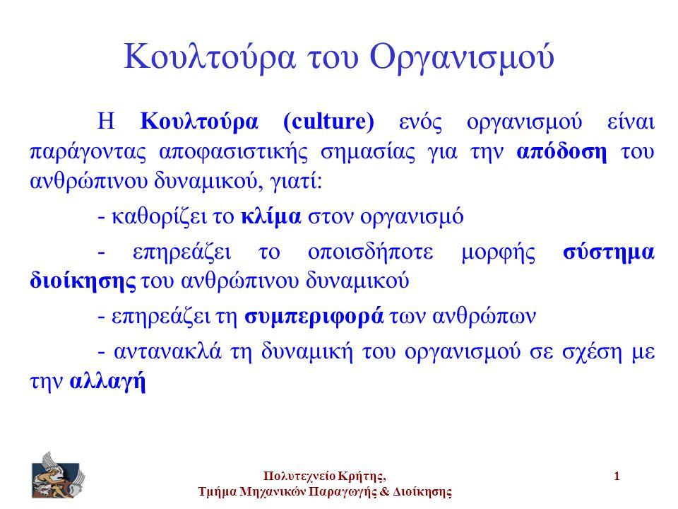 Πολυτεχνείο Κρήτης, Τμήμα Μηχανικών Παραγωγής & Διοίκησης 2 Ερμηνεία της λέξης «culture»: Αγωγή Καλλιέργεια Παιδεία Πολιτισμός Θα χρησιμοποιήσουμε τη λέξη «κουλτούρα» ως πλήρη του παραπάνω περιεχομένου ερμηνείας