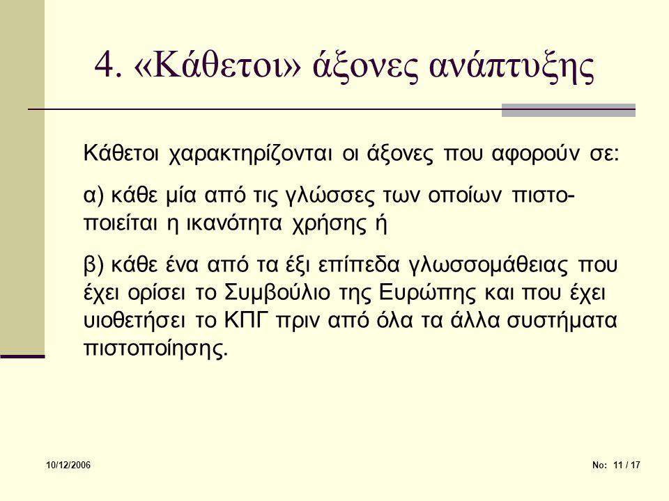 4. «Κάθετοι» άξονες ανάπτυξης Κάθετοι χαρακτηρίζονται οι άξονες που αφορούν σε: α) κάθε μία από τις γλώσσες των οποίων πιστο- ποιείται η ικανότητα χρή
