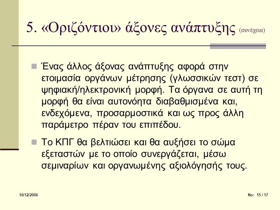 5. «Οριζόντιοι» άξονες ανάπτυξης (συνέχεια) 10/12/2006Νο: 15 / 17 Ένας άλλος άξονας ανάπτυξης αφορά στην ετοιμασία οργάνων μέτρησης (γλωσσικών τεστ) σ