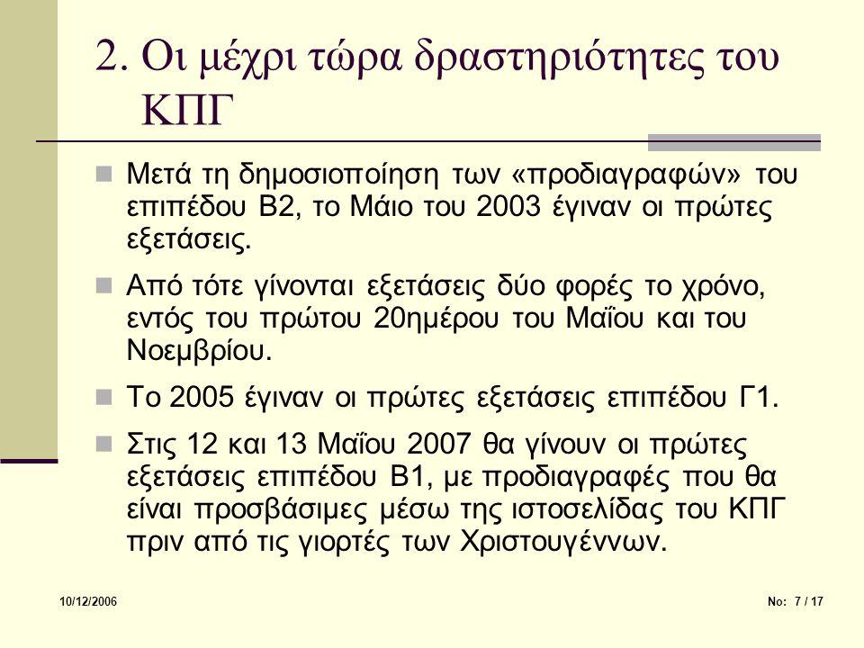 2. Οι μέχρι τώρα δραστηριότητες του ΚΠΓ Μετά τη δημοσιοποίηση των «προδιαγραφών» του επιπέδου Β2, το Μάιο του 2003 έγιναν οι πρώτες εξετάσεις. Από τότ