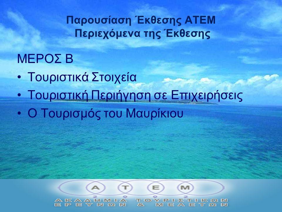 Παρουσίαση Έκθεσης ΑΤΕΜ Περιεχόμενα της Έκθεσης ΜΕΡΟΣ Β Τουριστικά Στοιχεία Τουριστική Περιήγηση σε Επιχειρήσεις Ο Τουρισμός του Μαυρίκιου