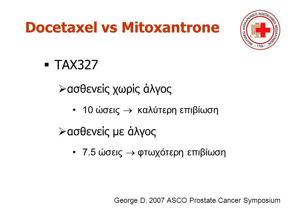 Docetaxel vs Mitoxantrone  TAX327  ασθενείς χωρίς άλγος 10 ώσεις  καλύτερη επιβίωση  ασθενείς με άλγος 7.5 ώσεις  φτωχότερη επιβίωση George D. 20