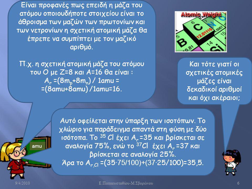 9/4/2010 Ε. Παπαευσταθίου - Μ. Σβορώνου 7 Σχετική ατομική μάζα Σύμβολο Ατομικός αριθμός