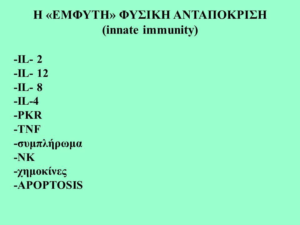 Η «ΕΜΦΥΤΗ» ΦΥΣΙΚΗ ΑΝΤΑΠΟΚΡΙΣΗ (innate immunity) -IL- 2 -IL- 12 -IL- 8 -IL-4 -PKR -TNF -συμπλήρωμα -ΝΚ -χημοκίνες -APOPTOSIS