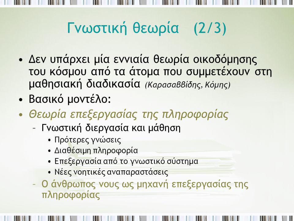 Γνωστική θεωρία (2/3) Δεν υπάρχει μία εννιαία θεωρία οικοδόμησης του κόσμου από τα άτομα που συμμετέχουν στη μαθησιακή διαδικασία (Καρασαββίδης, Κόμης