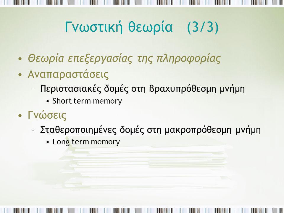 Γνωστική θεωρία (3/3) Θεωρία επεξεργασίας της πληροφορίας Αναπαραστάσεις –Περιστασιακές δομές στη βραχυπρόθεσμη μνήμη Short term memory Γνώσεις –Σταθε