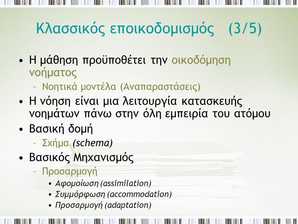 Κλασσικός εποικοδομισμός (3/5) Η μάθηση προϋποθέτει την οικοδόμηση νοήματος –Νοητικά μοντέλα (Αναπαραστάσεις) Η νόηση είναι μια λειτουργία κατασκευής