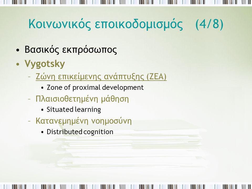 Κοινωνικός εποικοδομισμός (4/8) Βασικός εκπρόσωπος Vygotsky –Ζώνη επικείμενης ανάπτυξης (ΖΕΑ) Zone of proximal development –Πλαισιοθετημένη μάθηση Sit