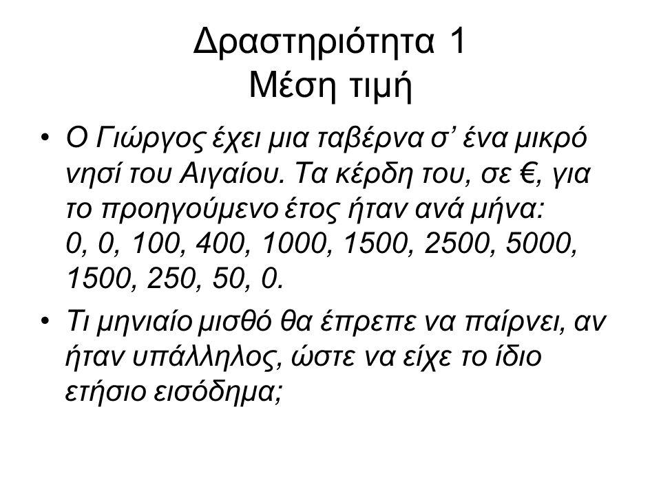 Δραστηριότητα 1 Μέση τιμή Ο Γιώργος έχει μια ταβέρνα σ' ένα μικρό νησί του Αιγαίου.