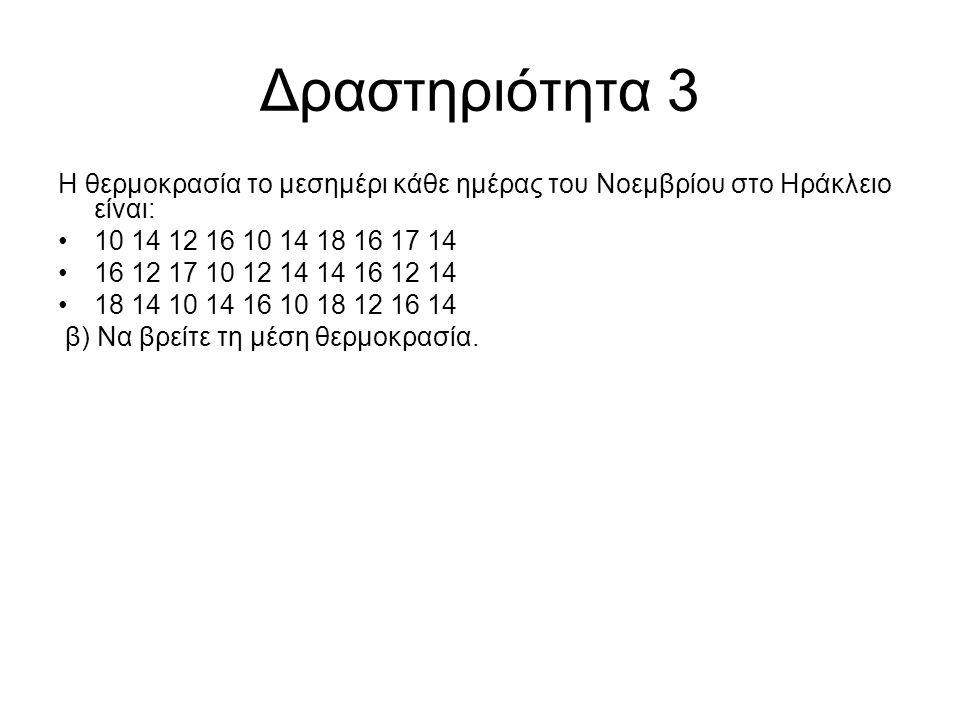 Δραστηριότητα 3 Η θερμοκρασία το μεσημέρι κάθε ημέρας του Νοεμβρίου στο Ηράκλειο είναι: 10 14 12 16 10 14 18 16 17 14 16 12 17 10 12 14 14 16 12 14 18 14 10 14 16 10 18 12 16 14 β) Να βρείτε τη μέση θερμοκρασία.