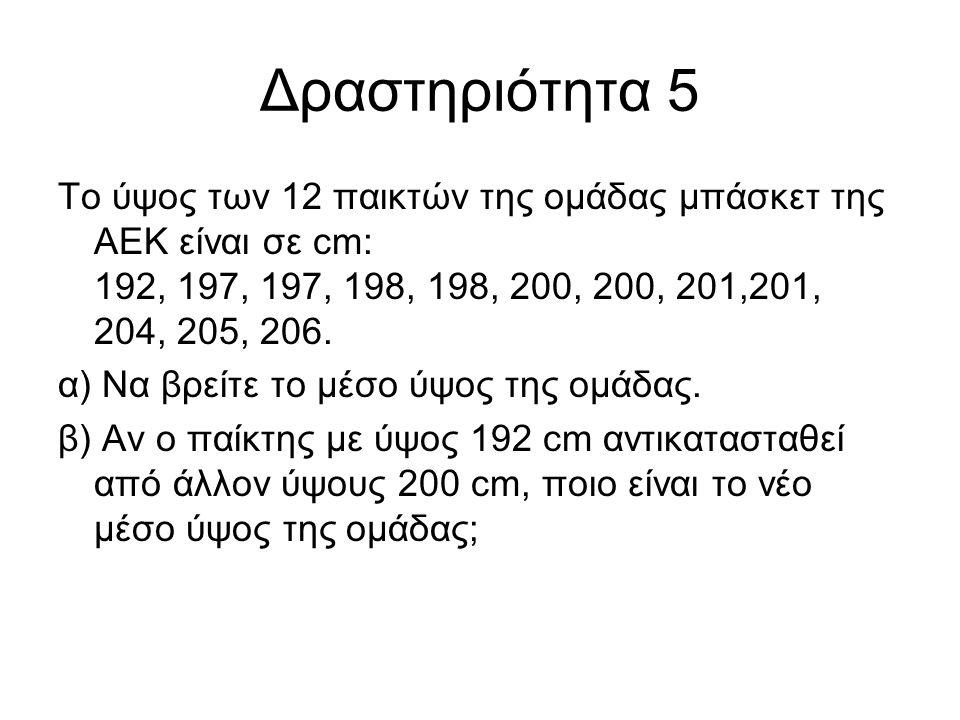 Δραστηριότητα 5 Το ύψος των 12 παικτών της ομάδας μπάσκετ της ΑΕΚ είναι σε cm: 192, 197, 197, 198, 198, 200, 200, 201,201, 204, 205, 206.