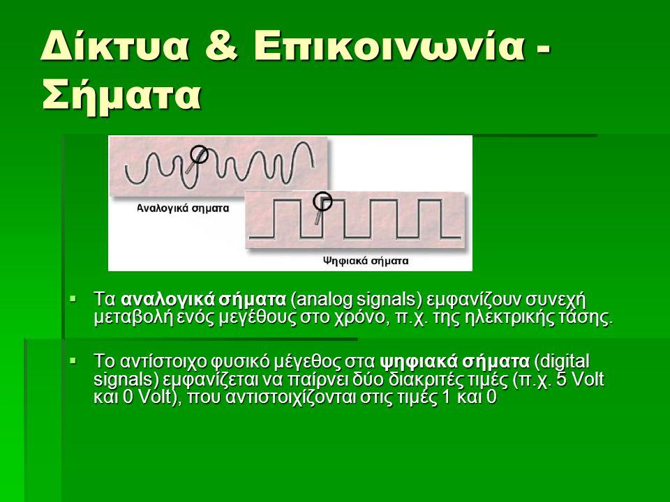 Δίκτυα & Επικοινωνία  H διαδικασία μετατροπής από τη μια κατάσταση στην άλλη ονομάζεται διαμόρφωση (modulation) και αποδιαμόρφωση (demodulation) αντίστοιχα, ενώ  η συσκευή με την οποία επιτυγχάνεται αυτή η μετατροπή ονομάζεται μόντεμ (modem, modulator -demodulator).