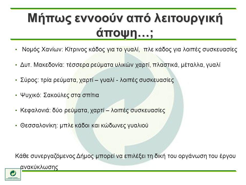 Μήπως εννοούν από λειτουργική άποψη…; Νομός Χανίων: Κίτρινος κάδος για το γυαλί, πλε κάδος για λοιπές συσκευασίες Δυτ. Μακεδονία: τέσσερα ρεύματα υλικ