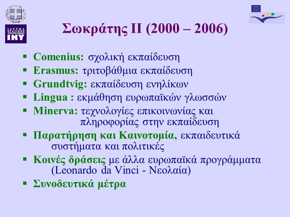 Σωκράτης ΙΙ (2000 – 2006)  Comenius: σχολική εκπαίδευση  Erasmus: τριτοβάθμια εκπαίδευση  Grundtvig: εκπαίδευση ενηλίκων  Lingua : εκμάθηση ευρωπαϊκών γλωσσών  Minerva: τεχνολογίες επικοινωνίας και πληροφορίας στην εκπαίδευση  Παρατήρηση και Καινοτομία, εκπαιδευτικά συστήματα και πολιτικές  Κοινές δράσεις με άλλα ευρωπαϊκά προγράμματα (Leonardo da Vinci - Νεολαία)  Συνοδευτικά μέτρα