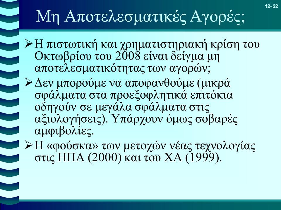 12- 22 Μη Αποτελεσματικές Αγορές;  Η πιστωτική και χρηματιστηριακή κρίση του Οκτωβρίου του 2008 είναι δείγμα μη αποτελεσματικότητας των αγορών;  Δεν