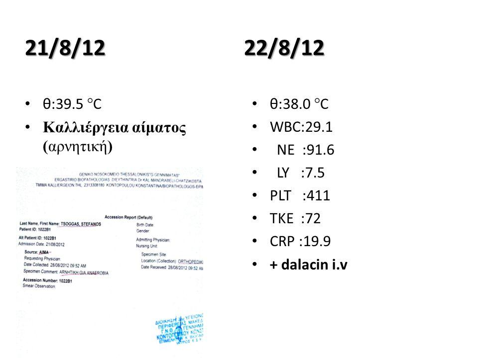 21/8/12 θ:39.5 °C Καλλιέργεια αίματος (αρνητική) 22/8/12 θ:38.0 °C WBC:29.1 NE :91.6 LY :7.5 PLT :411 ΤΚΕ :72 CRP :19.9 + dalacin i.v