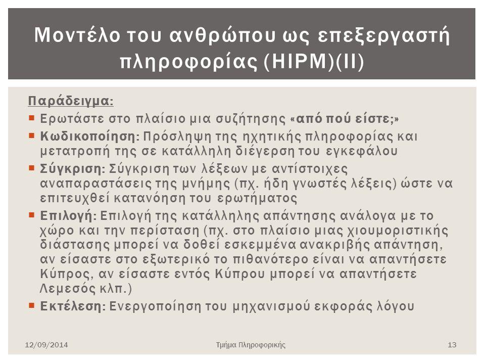 Μοντέλο του ανθρώπου ως επεξεργαστή πληροφορίας (HIPM)(ΙΙ) Παράδειγμα:  Ερωτάστε στο πλαίσιο μια συζήτησης «από πού είστε;»  Κωδικοποίηση: Πρόσληψη