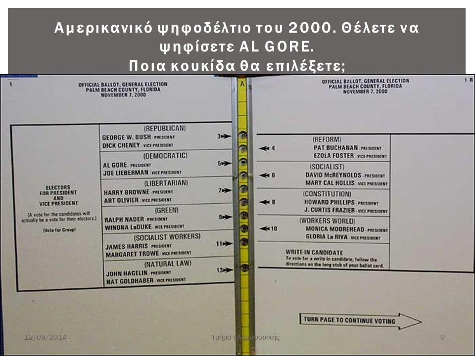 Αμερικανικό ψηφοδέλτιο του 2000. Θέλετε να ψηφίσετε AL GORE. Ποια κουκίδα θα επιλέξετε; 12/09/2014Τμήμα Πληροφορικής 6