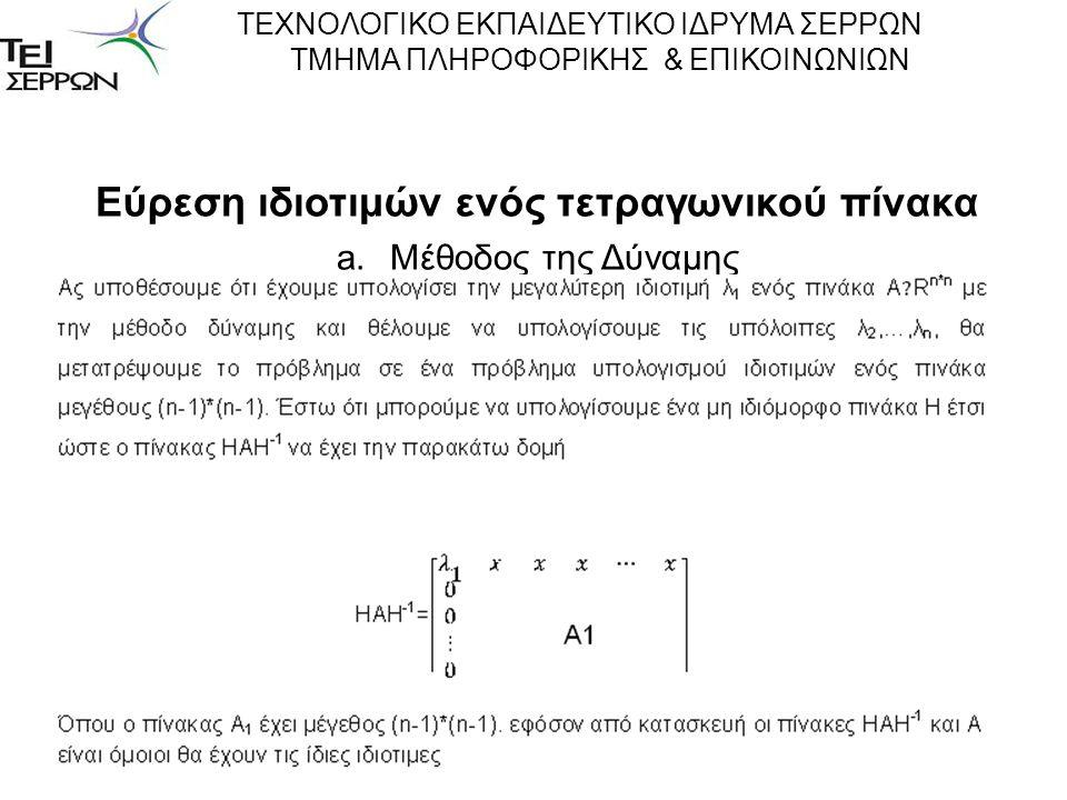 Εύρεση ιδιοτιμών ενός τετραγωνικού πίνακα a.Μέθοδος της Δύναμης