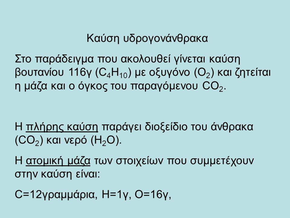 Καύση υδρογονάνθρακα Στο παράδειγμα που ακολουθεί γίνεται καύση βουτανίου 116γ (C 4 H 10 ) με οξυγόνο (Ο 2 ) και ζητείται η μάζα και ο όγκος του παραγόμενου CO 2.