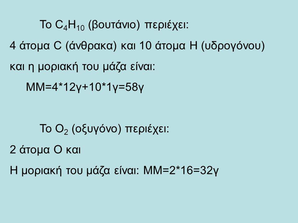 Το C 4 H 10 (βουτάνιο) περιέχει: 4 άτομα C (άνθρακα) και 10 άτομα Η (υδρογόνου) και η μοριακή του μάζα είναι: ΜΜ=4*12γ+10*1γ=58γ Το Ο 2 (οξυγόνο) περιέχει: 2 άτομα Ο και Η μοριακή του μάζα είναι: ΜΜ=2*16=32γ