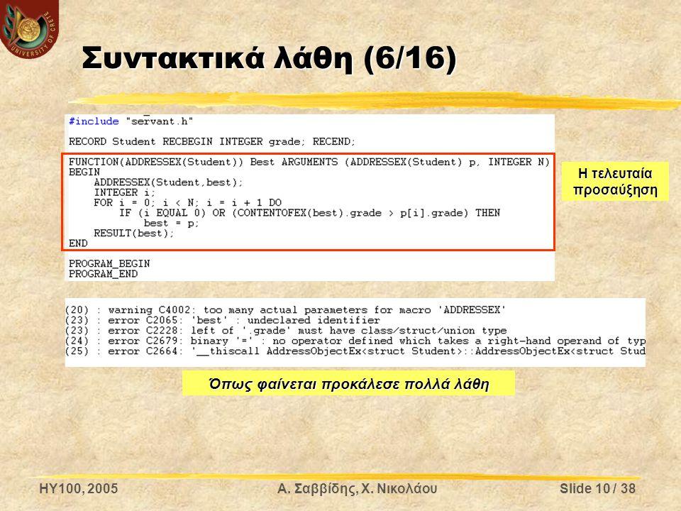 HY100, 2005Α. Σαββίδης, Χ. ΝικολάουSlide 10 / 38 Συντακτικά λάθη (6/16) Η τελευταία προσαύξηση Όπως φαίνεται προκάλεσε πολλά λάθη
