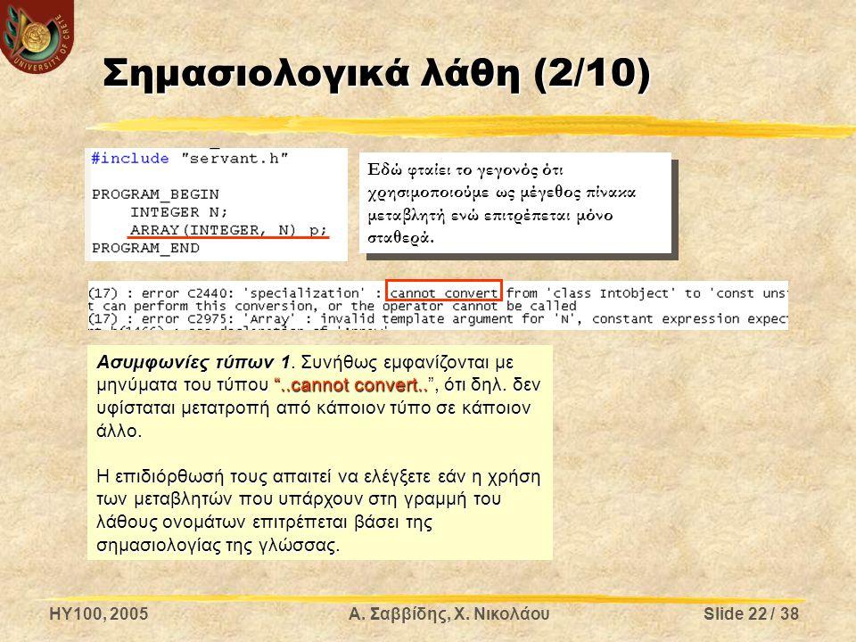 "HY100, 2005Α. Σαββίδης, Χ. ΝικολάουSlide 22 / 38 Σημασιολογικά λάθη (2/10) Ασυμφωνίες τύπων 1. Συνήθως εμφανίζονται με μηνύματα του τύπου ""..cannot co"