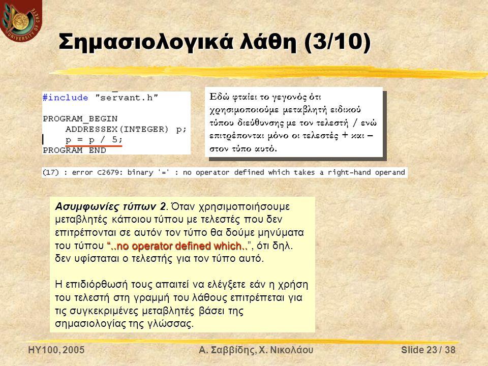 HY100, 2005Α. Σαββίδης, Χ. ΝικολάουSlide 23 / 38 Σημασιολογικά λάθη (3/10) Ασυμφωνίες τύπων 2. Όταν χρησιμοποιήσουμε μεταβλητές κάποιου τύπου με τελεσ
