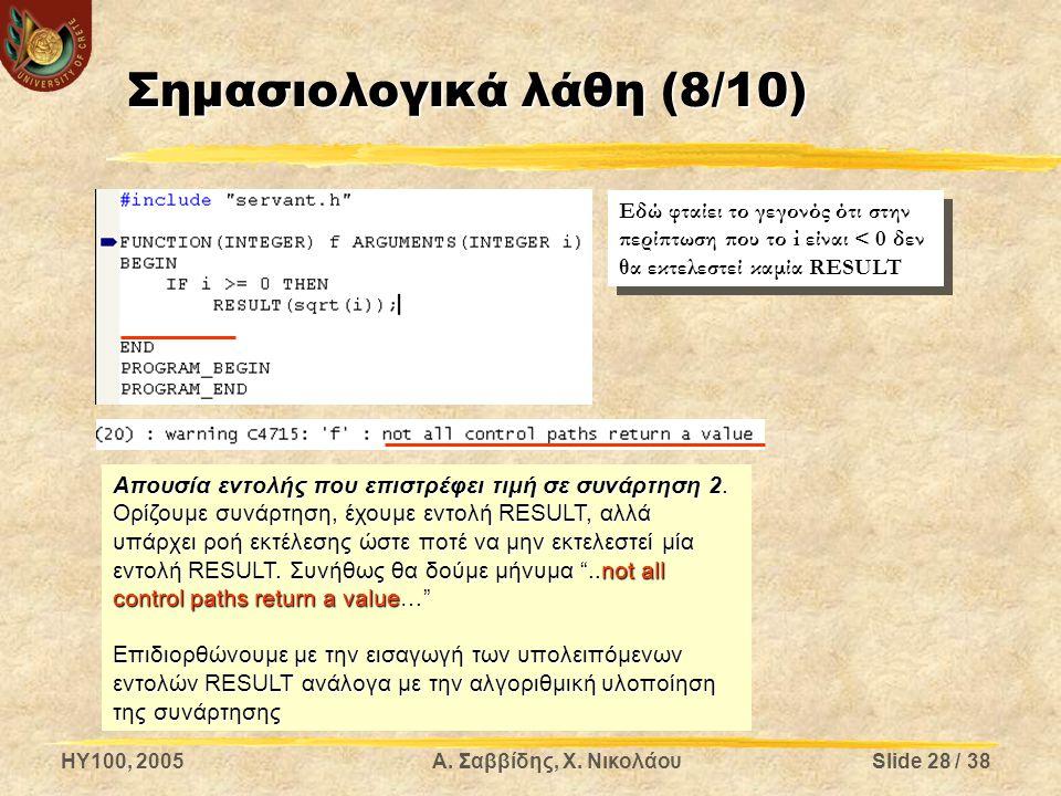 HY100, 2005Α. Σαββίδης, Χ. ΝικολάουSlide 28 / 38 Σημασιολογικά λάθη (8/10) Απουσία εντολής που επιστρέφει τιμή σε συνάρτηση 2. Ορίζουμε συνάρτηση, έχο