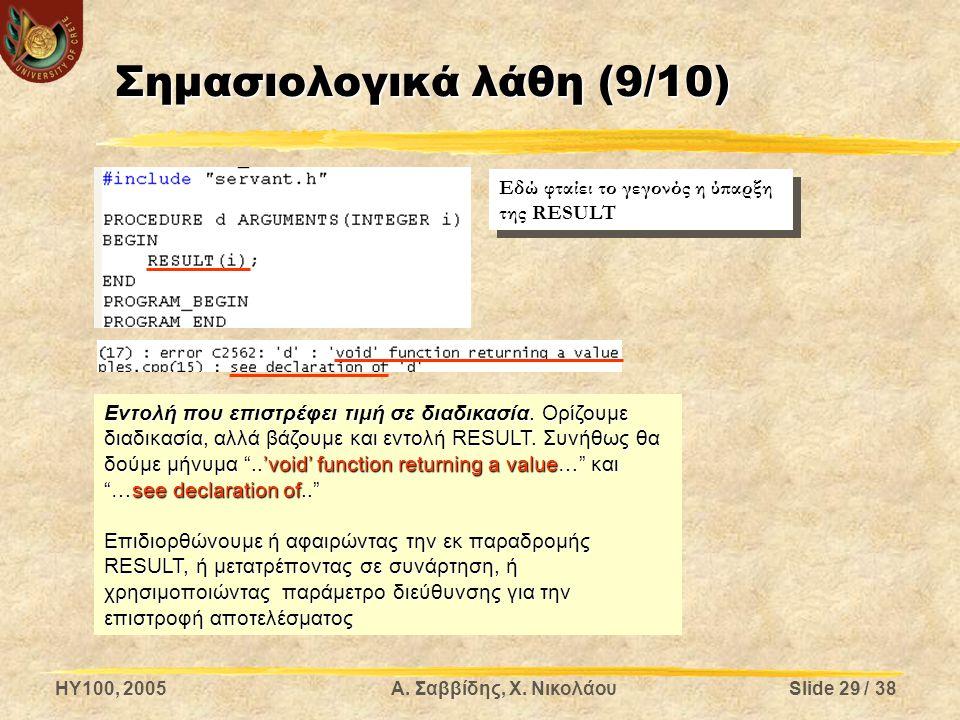HY100, 2005Α. Σαββίδης, Χ. ΝικολάουSlide 29 / 38 Σημασιολογικά λάθη (9/10) Εντολή που επιστρέφει τιμή σε διαδικασία. Ορίζουμε διαδικασία, αλλά βάζουμε