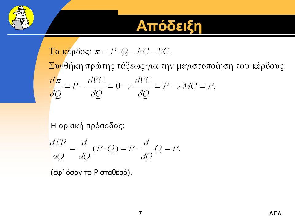 Α.Γ.Λ.27 Μεταβολή της τιμής Όταν μεταβάλλεται η τιμή P, μεταβάλλεται προς την ίδια κατεύθυνση και η προσφερόμενη ποσότητα Q S (νόμος της προσφοράς).
