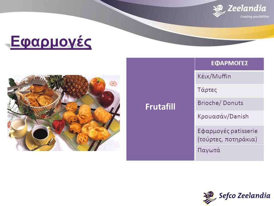 Frutafill ΕΦΑΡΜΟΓΕΣ Κέικ/Muffin Τάρτες Brioche/ Donuts Κρουασάν/Danish Εφαρμογές patisserie (τούρτες, ποτηράκια) Παγωτά
