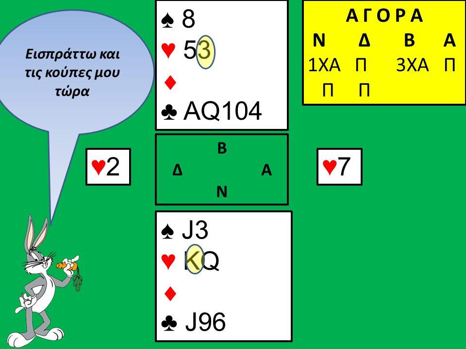 ♥2♥2 ♠ J3 ♥ KQ  ♣ J96 Β Δ Α Ν ♠ 8 ♥ 53  ♣ AQ104 Α Γ Ο Ρ Α N Δ Β Α 1ΧΑ Π 3ΧΑ Π Π Π ♥7♥7 Εισπράττω και τις κούπες μου τώρα