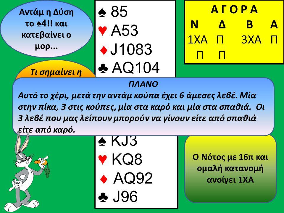 ♠4♠4 Α Γ Ο Ρ Α N Δ Β Α 1ΧΑ Π ♠ ΚJ3 ♥ KQ8  AQ92 ♣ J96 Β Δ Α Ν Ο Νότος με 16π και ομαλή κατανομή ανοίγει 1ΧΑ Αντάμ η Δύση τo ♠ 4 !.