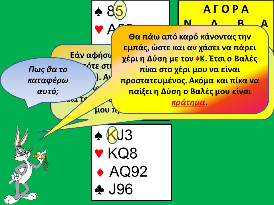 ♠4♠4 ♠ ΚJ3 ♥ KQ8  AQ92 ♣ J96 Β Δ Α Ν ♠ 85 ♥ Α53  J1083 ♣ AQ104 Α Γ Ο Ρ Α N Δ Β Α 2ΧΑ Π 3ΧΑ Π Π Π ♠Q Εάν αφήσω έξω η Ανατολή θα συνεχίσει με πίκα οπότε στις πίκες θα κάνω μόνο μια λεβέ (ένα κράτημα).