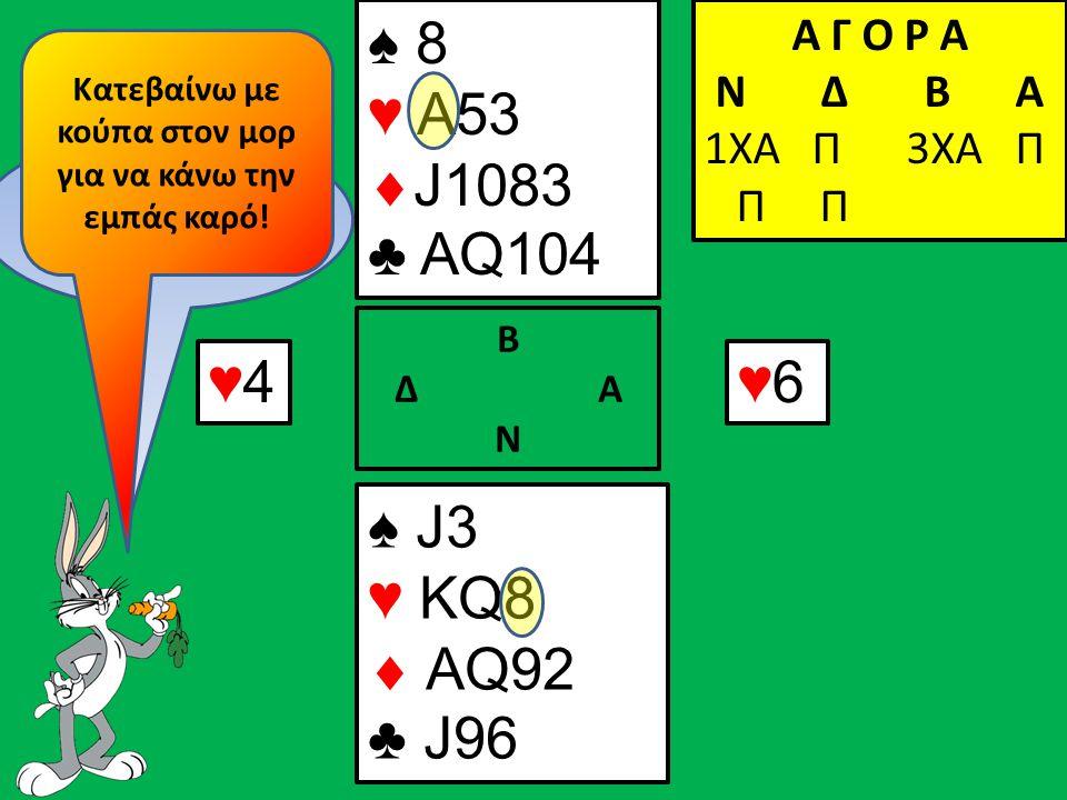 ♥4♥4 ♠ J3 ♥ KQ8  AQ92 ♣ J96 Β Δ Α Ν ♠ 8 ♥ Α53  J1083 ♣ AQ104 Α Γ Ο Ρ Α N Δ Β Α 1ΧΑ Π 3ΧΑ Π Π Π ♥6♥6 Πως συνεχίζω; Κατεβαίνω με κούπα στον μορ για να κάνω την εμπάς καρό!