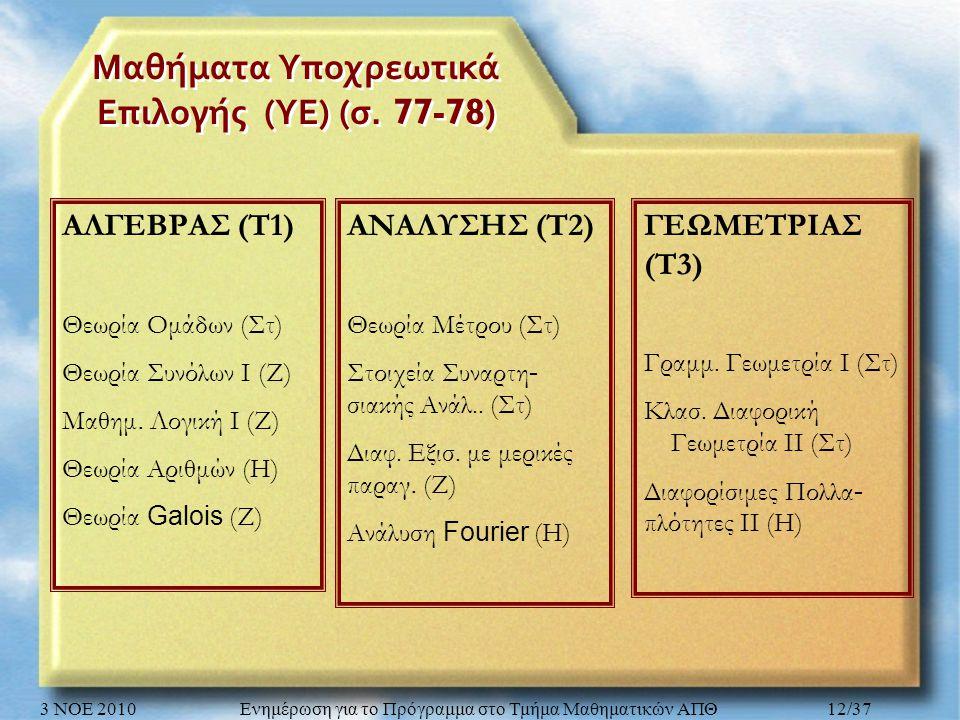 Μαθήματα Υποχρεωτικά Επιλογής ( ΥΕ ) ( σ. 77-78) ΓΕΩΜΕΤΡΙΑΣ (Τ3) Γραμμ.