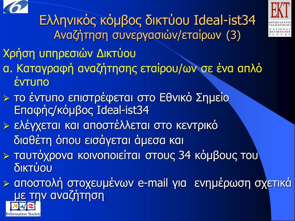 Ελληνικός κόμβος δικτύου Ideal-ist34 Αναζήτηση συνεργασιών/εταίρων (3) Χρήση υπηρεσιών Δικτύου α. Καταγραφή αναζήτησης εταίρου/ων σε ένα απλό έντυπο 