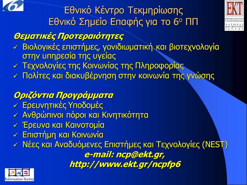Εθνικό Κέντρο Τεκμηρίωσης Εθνικό Σημείο Επαφής για το 6 ο ΠΠ Θεματικές Προτεραιότητες Βιολογικές επιστήμες, γονιδιωματική και βιοτεχνολογία στην υπηρε