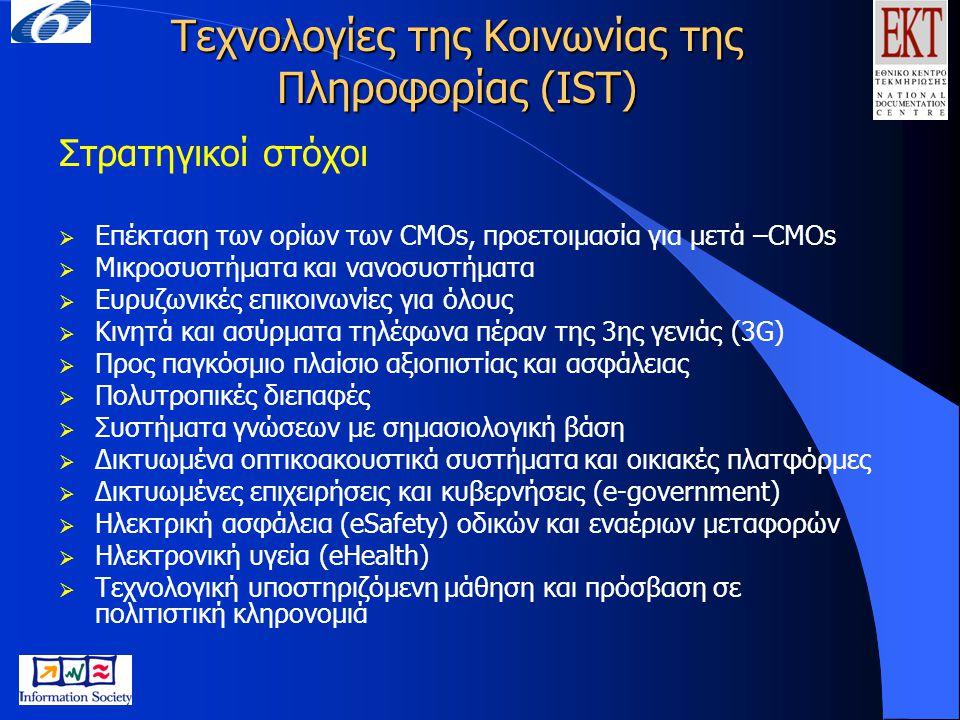 Τεχνολογίες της Κοινωνίας της Πληροφορίας (IST) Στρατηγικοί στόχοι  Επέκταση των ορίων των CMOs, προετοιμασία για μετά –CMOs  Μικροσυστήματα και ναν