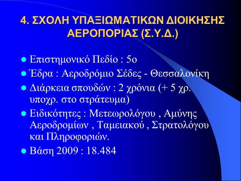 4. ΣΧΟΛΗ ΥΠΑΞΙΩΜΑΤΙΚΩΝ ΔΙΟΙΚΗΣΗΣ ΑΕΡΟΠΟΡΙΑΣ (Σ.Υ.Δ.) Επιστημονικό Πεδίο : 5ο Έδρα : Αεροδρόμιο Σέδες - Θεσσαλονίκη Διάρκεια σπουδών : 2 χρόνια (+ 5 χρ