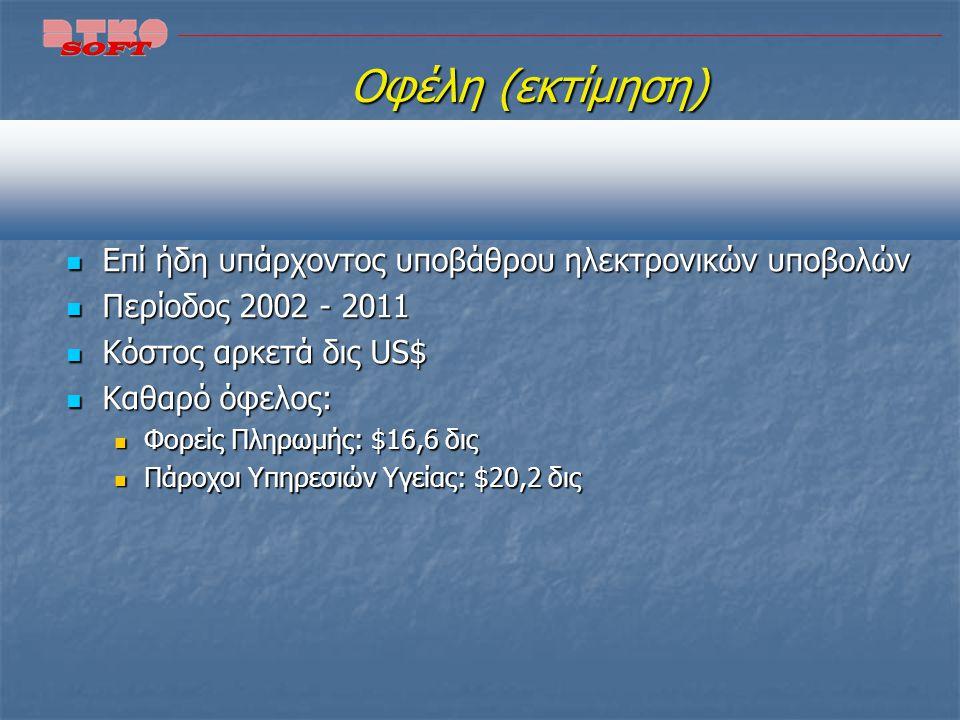 Κόστη Upgrade Αφορούν σε κόστος upgrade λογισμικού δεδομένου του ότι ήδη χρησιμοποιούσαν ηλεκτρονικές (non HIPAA) υποβολές Αφορούν σε κόστος upgrade λ