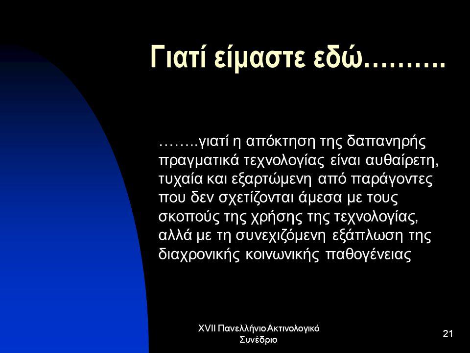 XVII Πανελλήνιο Ακτινολογικό Συνέδριο 21 Γιατί είμαστε εδώ………. ……..γιατί η απόκτηση της δαπανηρής πραγματικά τεχνολογίας είναι αυθαίρετη, τυχαία και ε