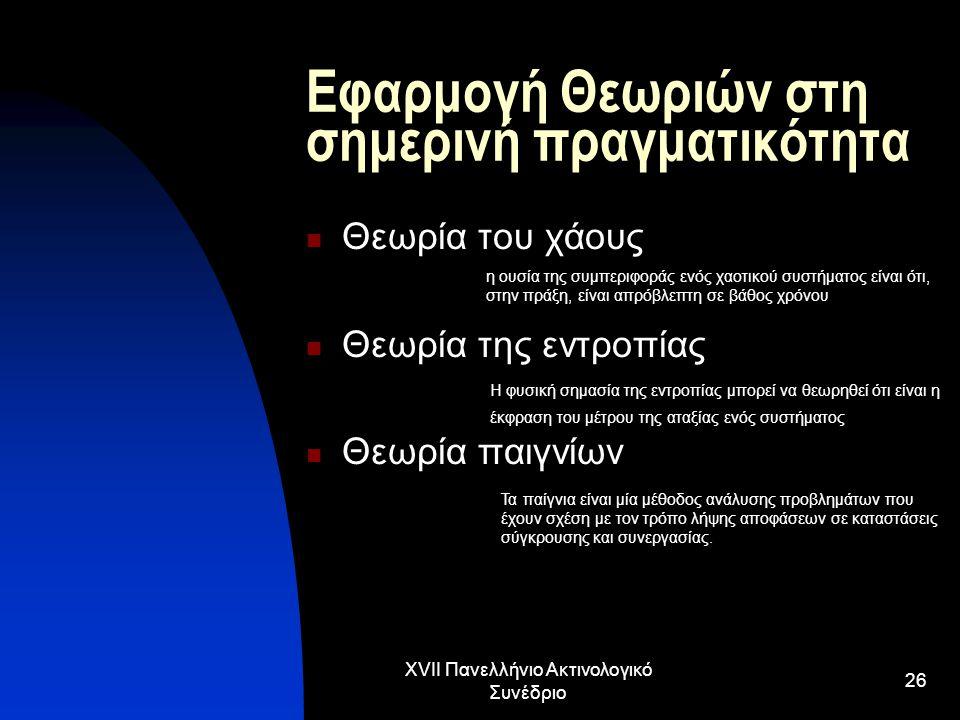 XVII Πανελλήνιο Ακτινολογικό Συνέδριο 26 Εφαρμογή Θεωριών στη σημερινή πραγματικότητα Θεωρία του χάους Θεωρία της εντροπίας Θεωρία παιγνίων Τα παίγνια