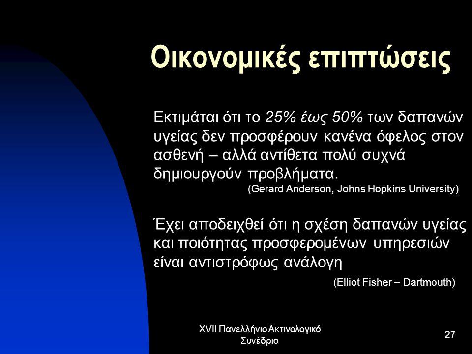 XVII Πανελλήνιο Ακτινολογικό Συνέδριο 27 Οικονομικές επιπτώσεις Εκτιμάται ότι το 25% έως 50% των δαπανών υγείας δεν προσφέρουν κανένα όφελος στον ασθε