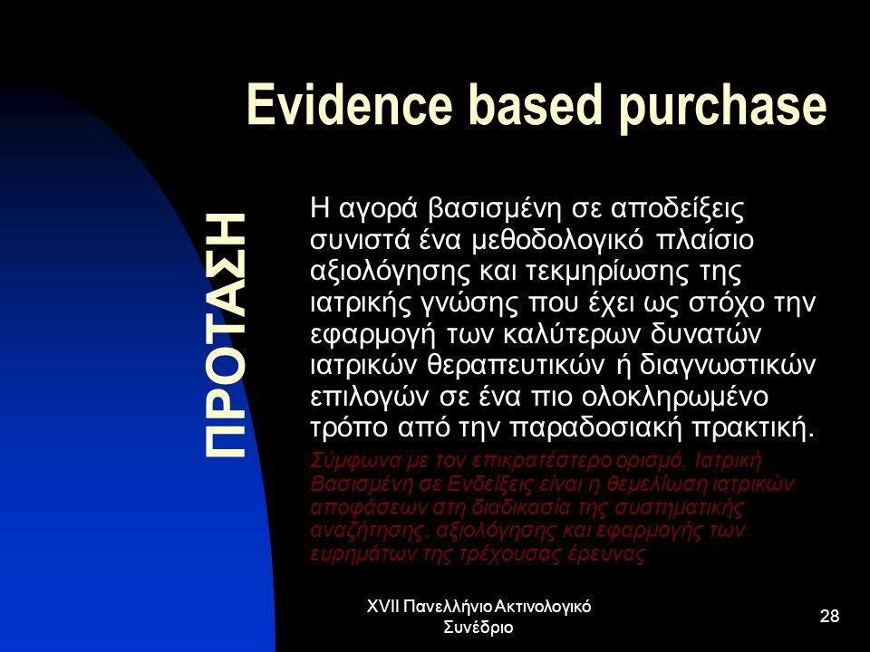 XVII Πανελλήνιο Ακτινολογικό Συνέδριο 28 Evidence based purchase Η αγορά βασισμένη σε αποδείξεις συνιστά ένα μεθοδολογικό πλαίσιο αξιολόγησης και τεκμ