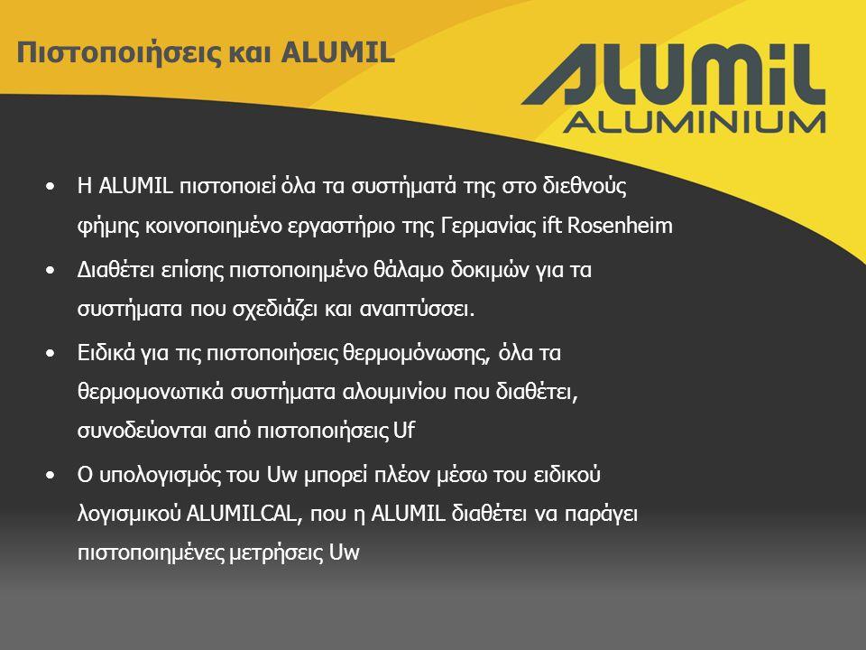 H ALUMIL πιστοποιεί όλα τα συστήματά της στο διεθνούς φήμης κοινοποιημένο εργαστήριο της Γερμανίας ift Rosenheim Διαθέτει επίσης πιστοποιημένο θάλαμο δοκιμών για τα συστήματα που σχεδιάζει και αναπτύσσει.